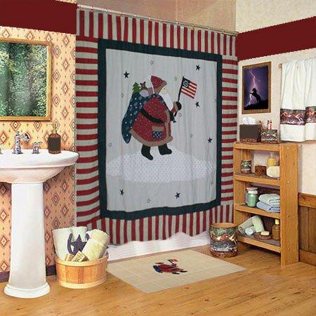Colonial Santa Shower Curtain from Wayfair!
