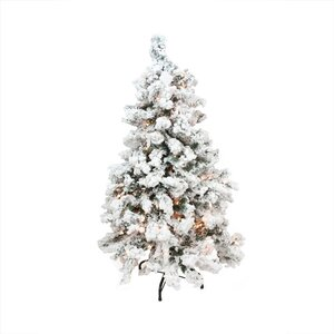 7.5' Heavily Flocked Pine Medium Artificial Christmas Tree with Clear Lights