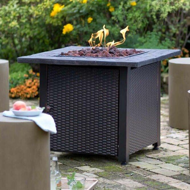 Attractive Wicker Propane Gas Fire Pit Table