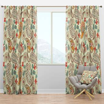 Designart Autumn Paisley Semi Sheer Thermal Rod Pocket Curtain Panel Wayfair