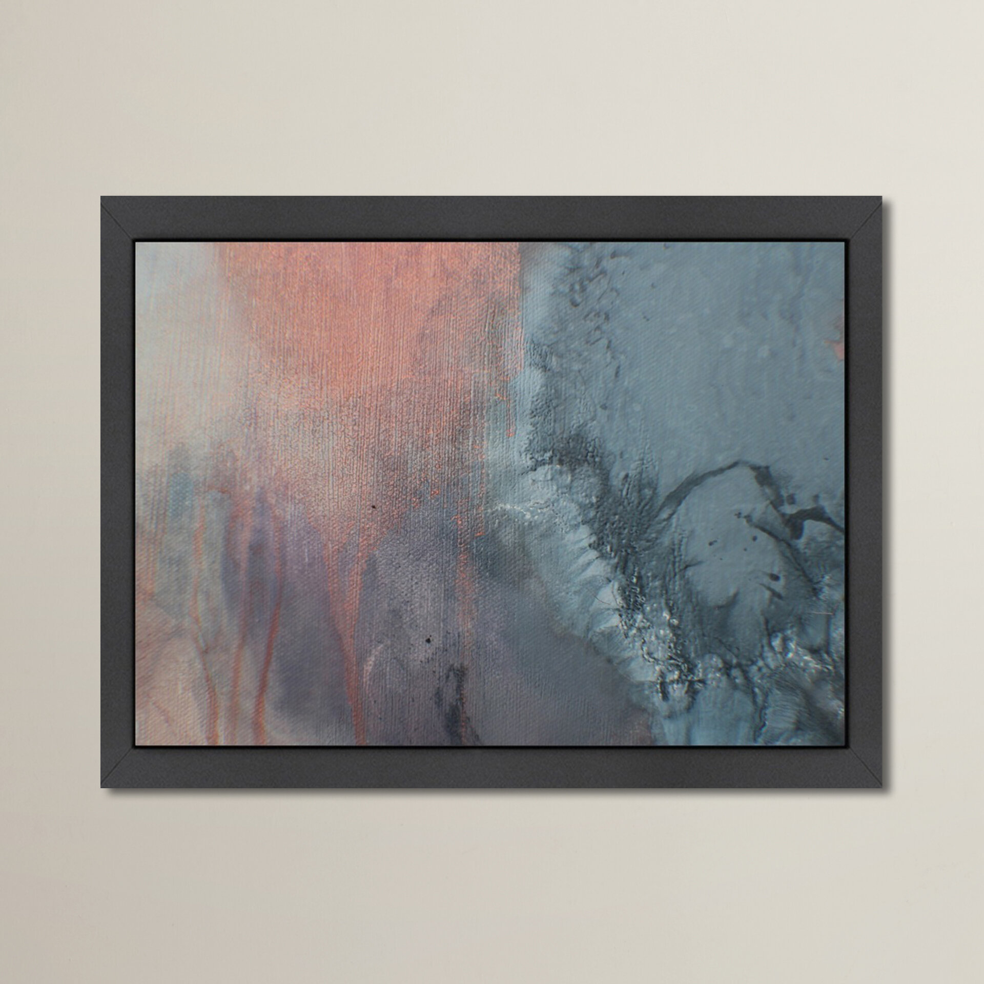 East Urban Home Grey And Peach Drips Deb Mcnaughton Framed Painting Print Wayfair