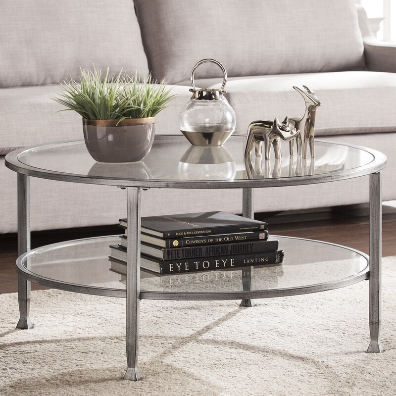 Attractive Casas Metal And Glass Round Coffee Table