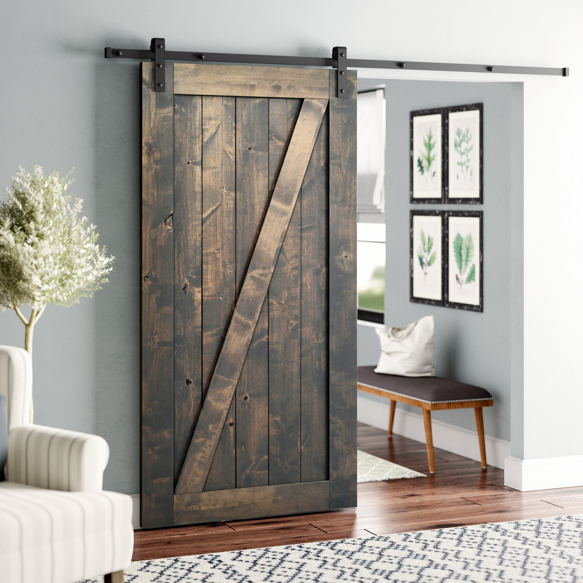 Laurel Foundry Modern Farmhouse Paneled Wood Finish Hobson Barn Door With Installation Hardware Kit Reviews Wayfair