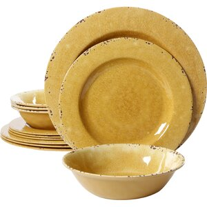 Cogswell Melamine Mauna Crackle 12 Piece Dinnerware Set, Service for 4