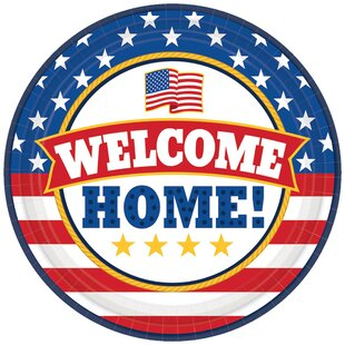 Patriotic Welcome Home Round Paper Plate (Set of 18)