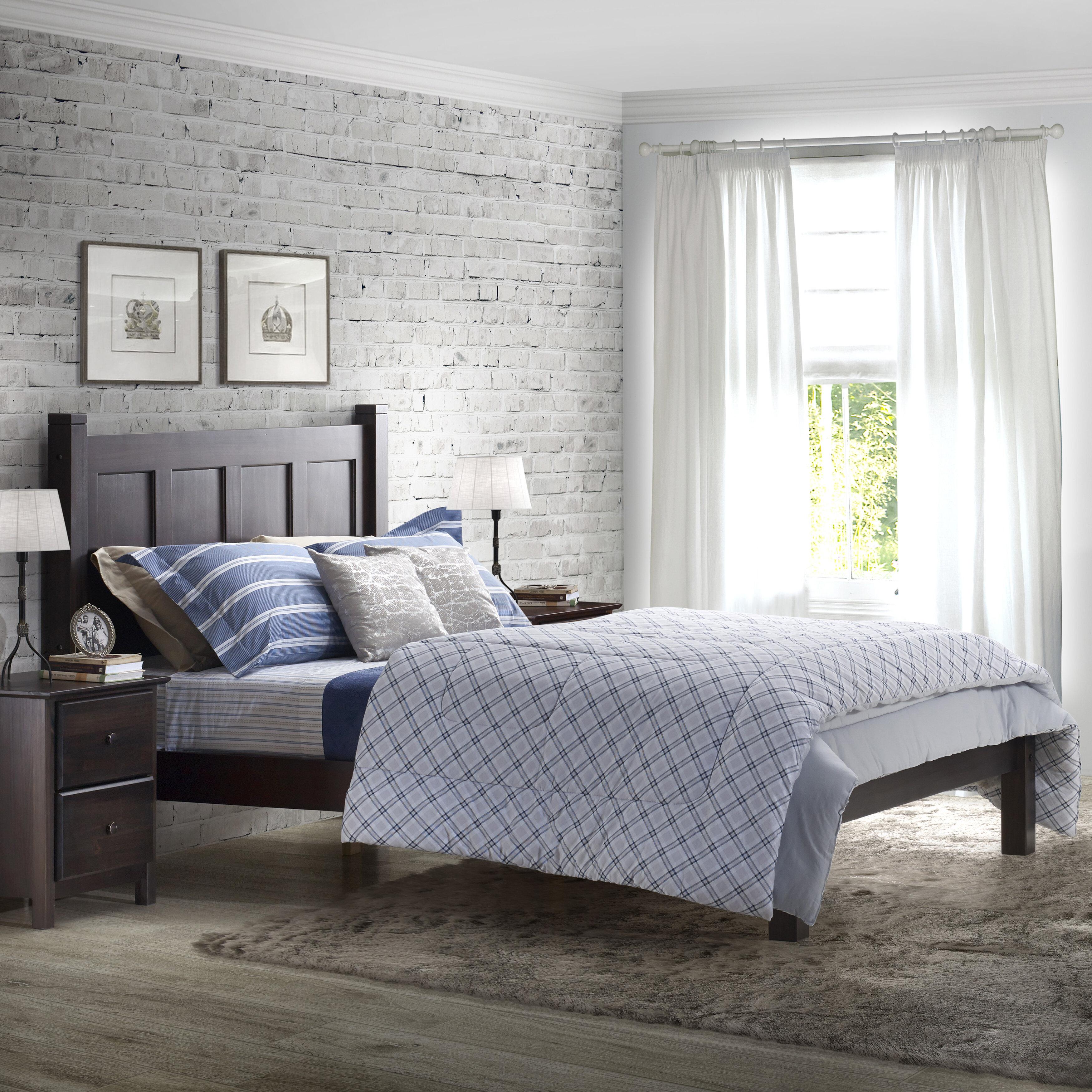 Espresso Queen Size Wood Platform Bed Frame Panel Headboard Bedroom Furniture