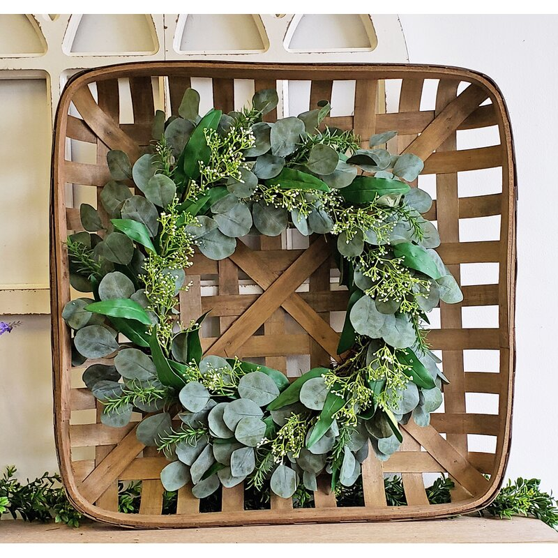 Square Tobacco Basket with Eucalyptus Wreath.