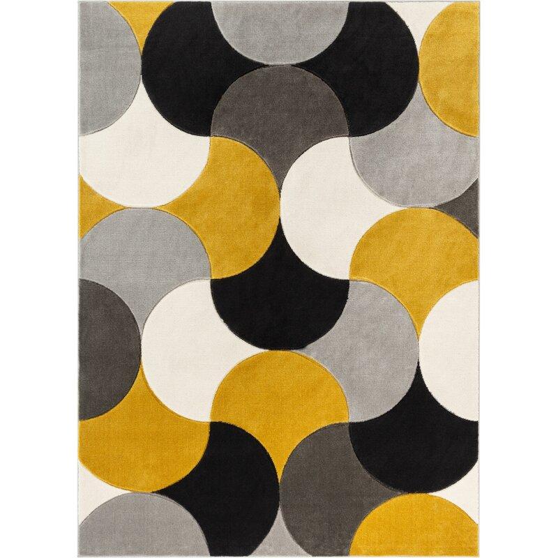 Well Woven Good Vibes Helena Modern Geometric Gold Gray Black Area