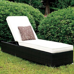 Latitude Run Dent Contemporary Patio Chaise Lounge with Cushion