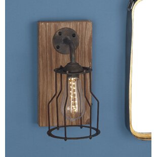 Best Reviews Wood/Metal 1-Light LED Armed Sconce By Cole & Grey