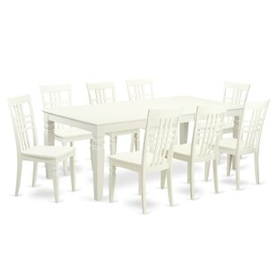 Beesley 9 Piece Linen White Wood Dining Set DarHome Co