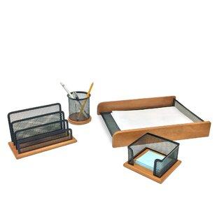 Mind Reader 4 Piece Wood Set Desk Organizer Set
