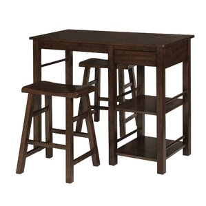 Jameel Counter Height Wood Breakfast 3 Piece Pub Table Set by Red Barrel Studio