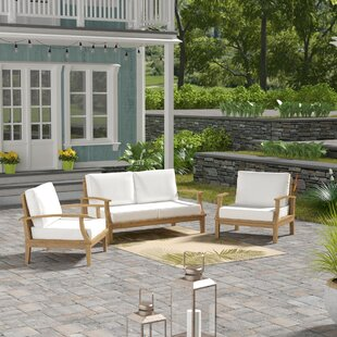 Beachcrest Home Elaina Teak 3 Piece Sofa Set with Cushions