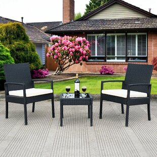 Laci Outdoor 3 Piece Rattan 2 Person Seating Group with Cushions