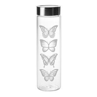 Buckwalter Butterflies Sleek 18 oz. Glass Water Bottle