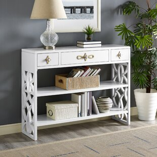 Everly Quinn Partin Modern White Three Drawer with Contrasting Overlays Console Table