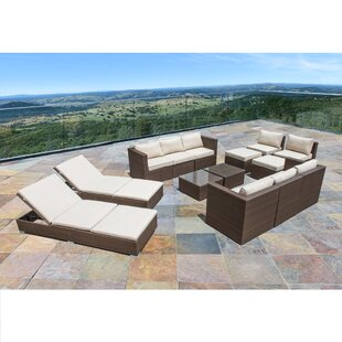 Imtiyaz 14 Piece Rattan Sectional Set with Cushions