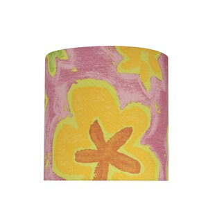 Transitional 8 Fabric Drum Flowers Lamp Shade