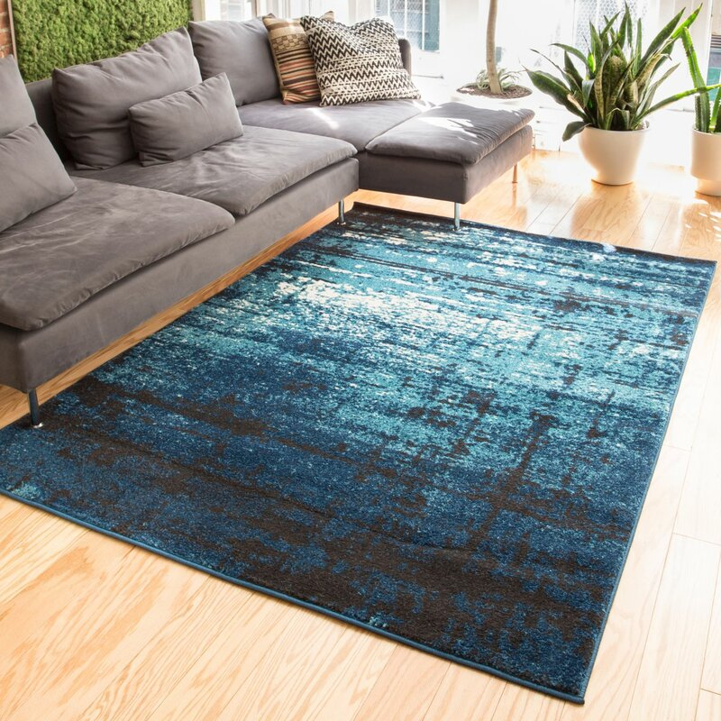 Trent Austin Design Coolidge Modern Distressed Navy Blue