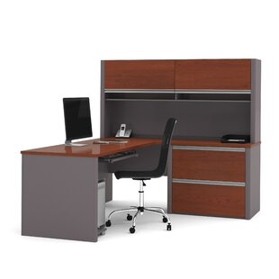 Clearance Wirra L-Shape Executive Desk with Hutch By Latitude Run
