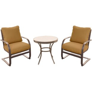 Fleur De Lis Living Rhonda 3 Piece Bistro Set with Cushions