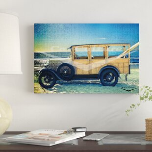 'Surfin' at Del Mar - Beach Boys' Ford Model a Woodie Wagon' Graphic Art Print on Canvas By East Urban Home