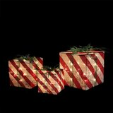3 Piece Striped Gift Box Christmas Lighting Display Set (Set of 3)