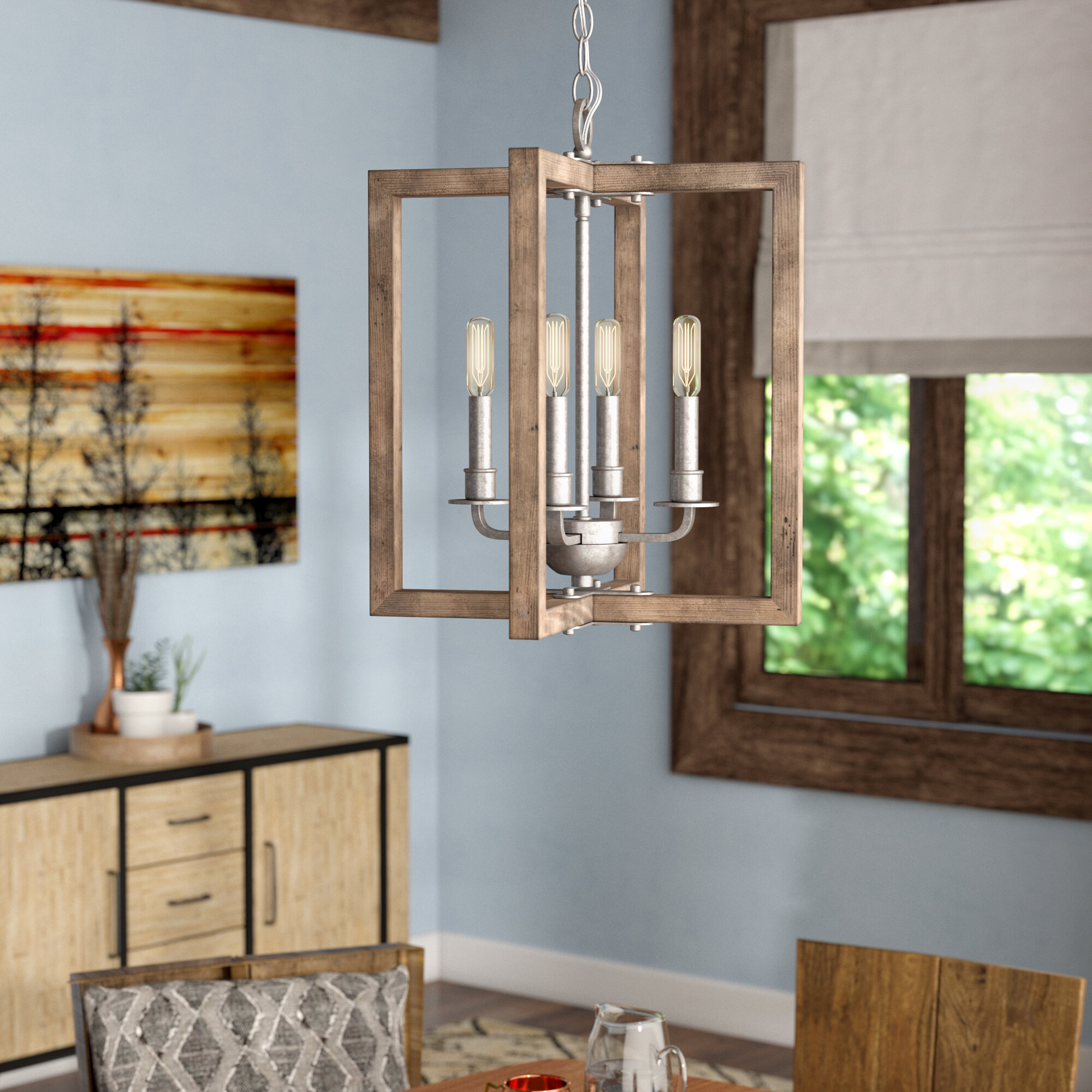 Union Rustic Daugherty 4-Light Square/Rectangle Chandelier & Reviews ...