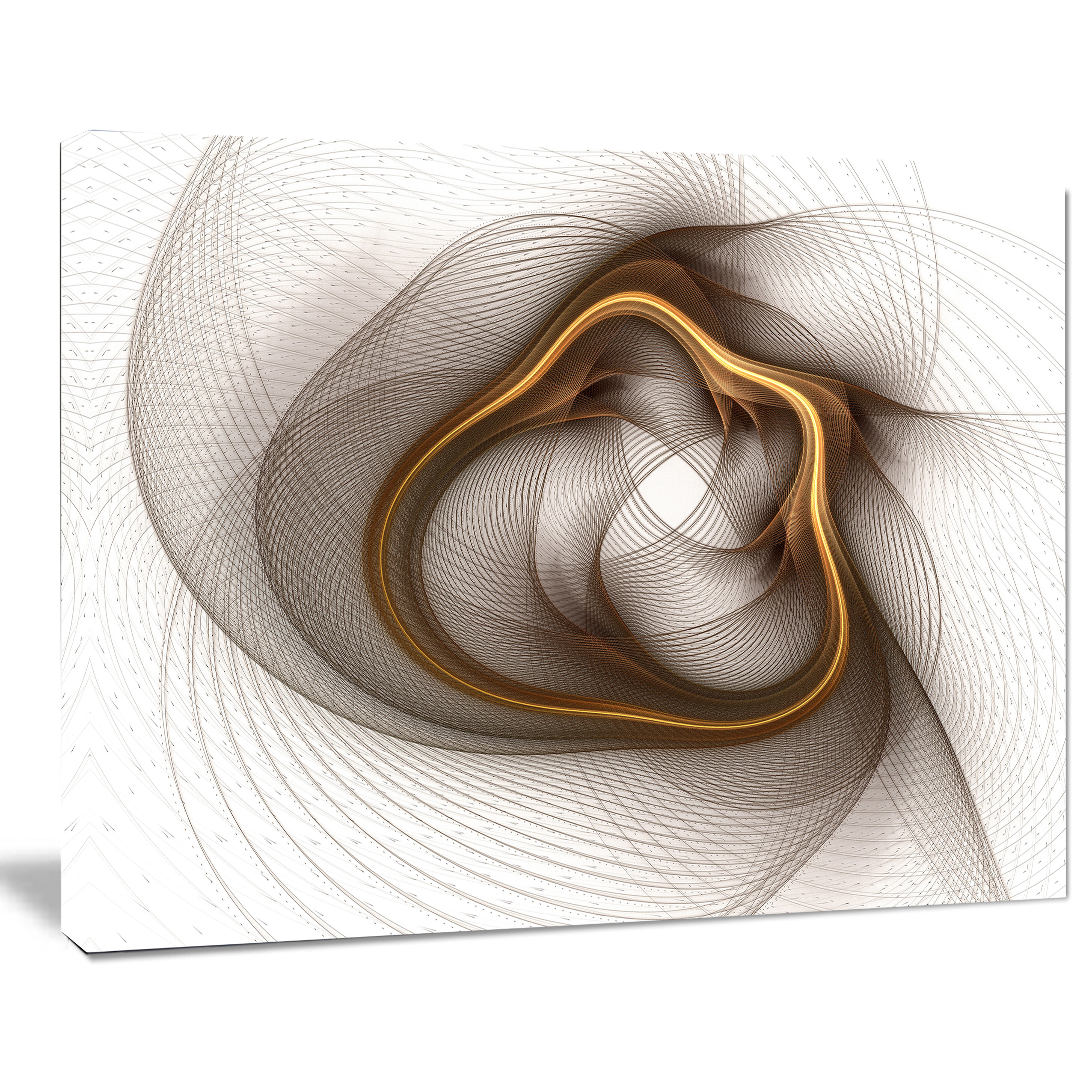 Designart Brown Abstract Fractal Flower Graphic Art On Wrapped Canvas Wayfair