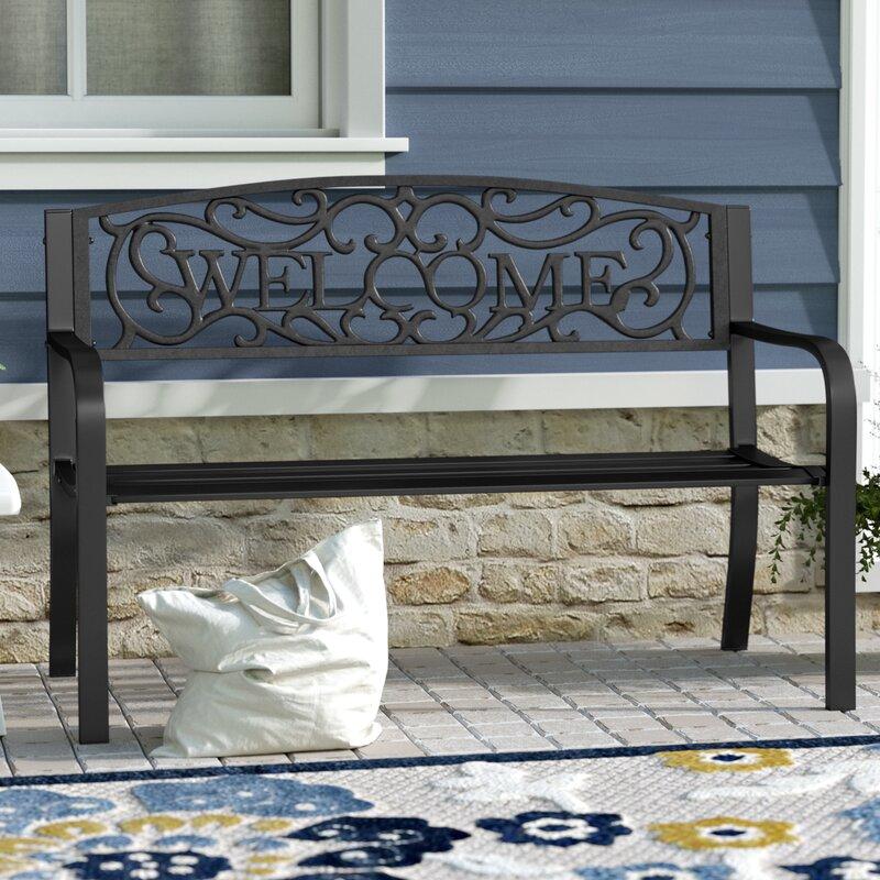 Brimfield Welcome Vines Decorative Steel Garden Bench