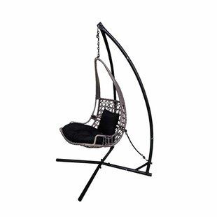 Bloomsbury Market Newlon Wicker Rattan Hanging Swing Chair with Stand