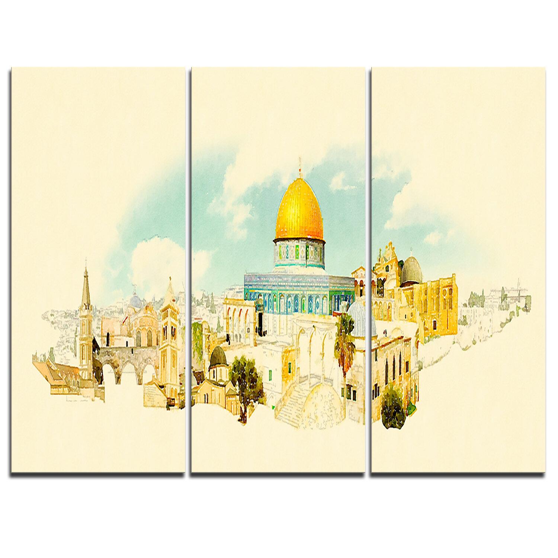 Designart Jerusalem Panoramic View 3 Piece Graphic Art On Wrapped Canvas Set Wayfair