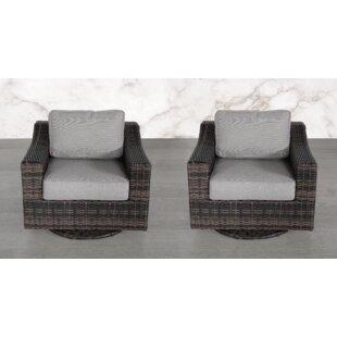 Laurene Club Swivel Patio Chair with Cushions (Set of 2)