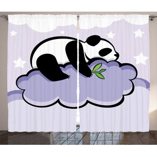 Haysi Graphic Print & Text Semi-Sheer Rod pocket Curtain Panels (Set of 2) by Harriet Bee