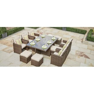 Bayou Breeze Frederica 11 Piece Dining Set with Cushion