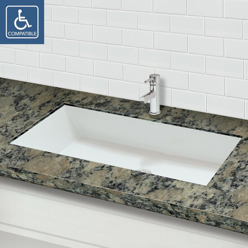 Sacha Solid Surface Plastic Rectangular Undermount Bathroom Sink With Overflow