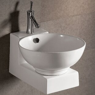 Price comparison Isabella Ceramic 17 Wall Mount Bathroom Sink with Overflow By Whitehaus Collection