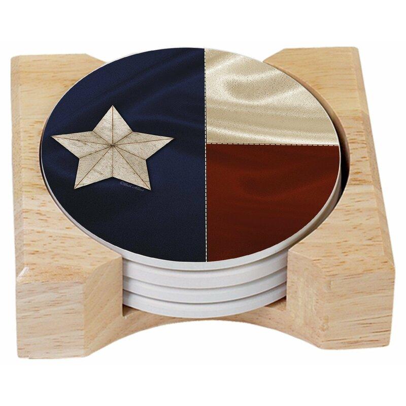 Counterart Texas Flag Absorbent 5 Piece Coaster Set With Holder Wayfair