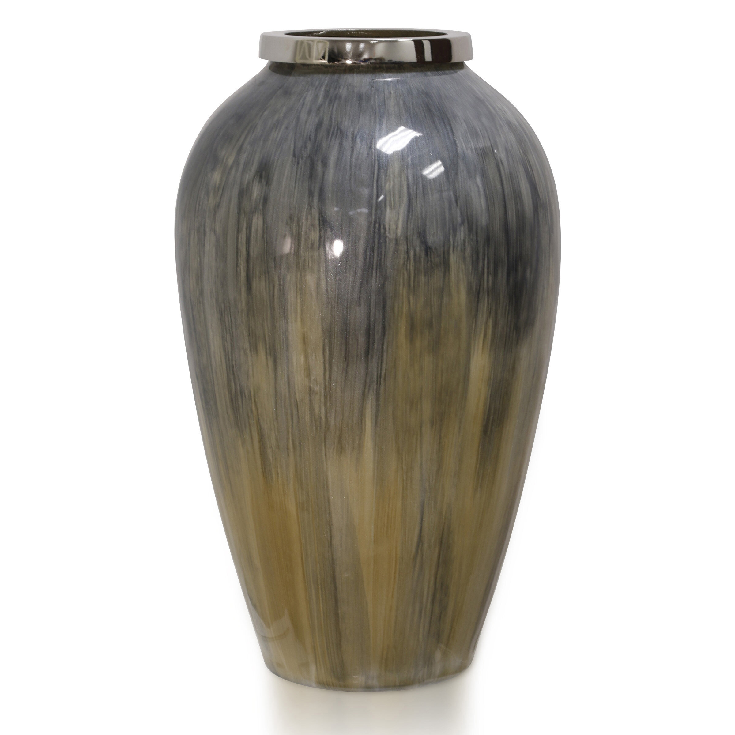 Orren Ellis Geroskipou Gray Silver Gold Glass Table Vase Wayfair