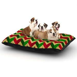 'Herringbornaments' Dog Pillow with Fleece Cozy Top