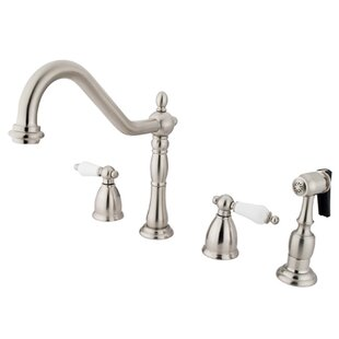 Elements of Design Heritage Two Handle Widespread Kitchen Faucet with Porcelain Lever Handles