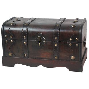 Astoria Grand Beese Small Pirate Style Wooden Treasure Chest in Antique Cherry