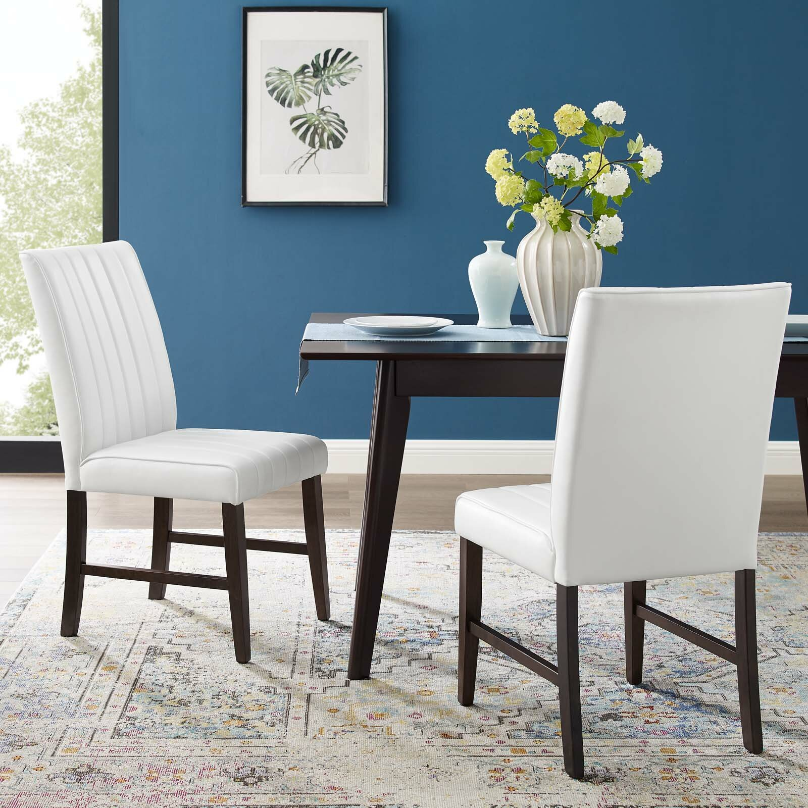 Picture of: Winston Porter Woodvale Tufted Faux Leather Upholstered Dining Chair In White