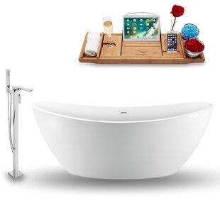 75 x 35 Freestanding Soaking Bathtub with Tray by Streamline Bath