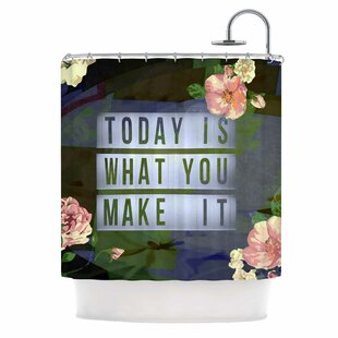 Compare AlyZen Moonshadow Today is What You Make it 1 Typography Shower Curt ByEast Urban Home