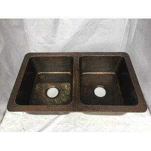 The Copper Factory Double Bowl Dark Antique Copper Hand Hammered Drop in or Undermount Kitchen Sink