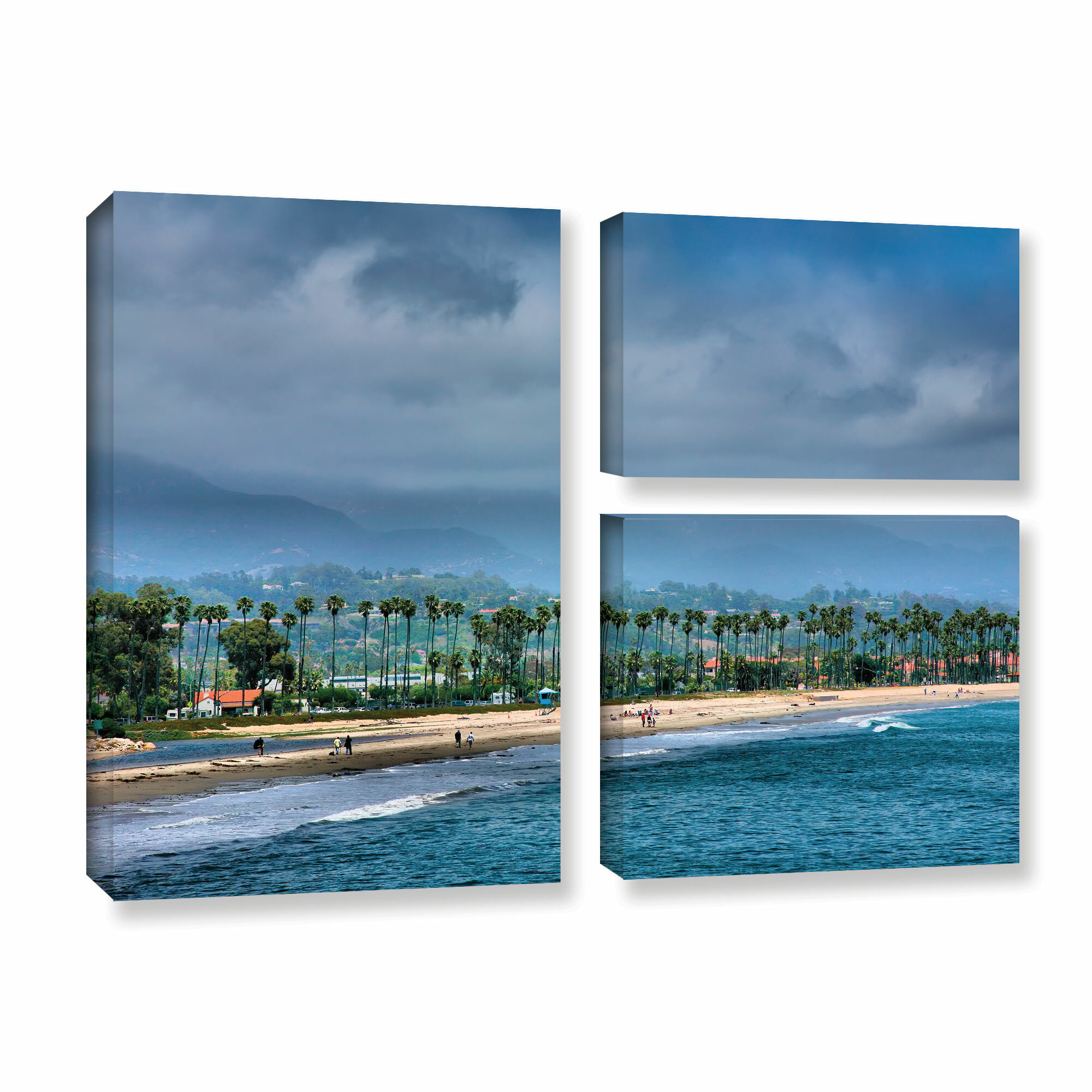 Artwall The Beach At Santa Barbara By Steve Ainsworth 3 Piece Photographic Print On Gallery Wrapped Canvas Set Wayfair