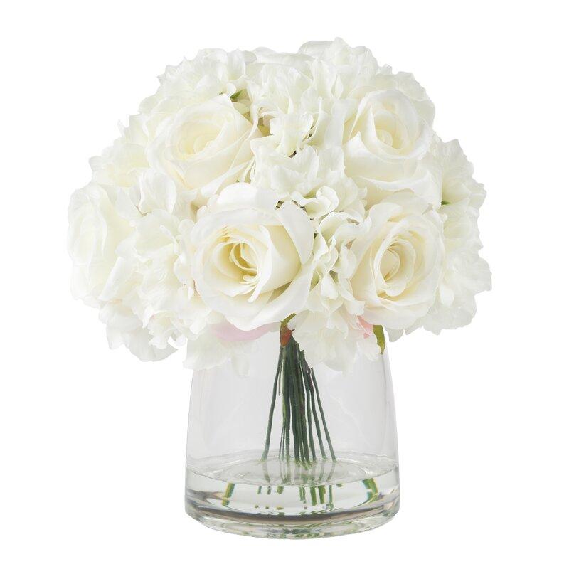 Hydrangea and rose arrangement in glass vase reviews allmodern hydrangea and rose arrangement in glass vase mightylinksfo