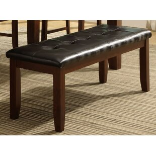 Rocio Leather Tufted Wood Bench by Red Barrel Studio